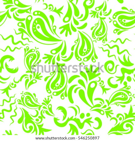 Oriental style. Hand drawn illustration. Vector vintage floral ornament. Damask seamless pattern in green colors. Design for fabric, wallpaper, background, invitation, wrapping and book covers.