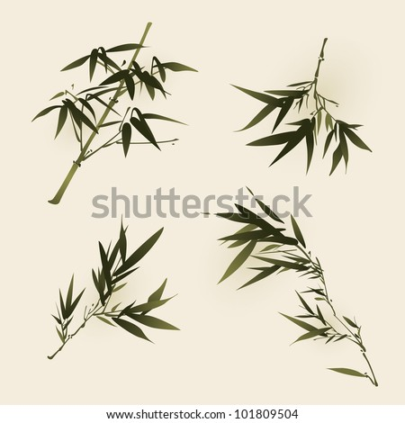 oriental style painting, bamboo leaves