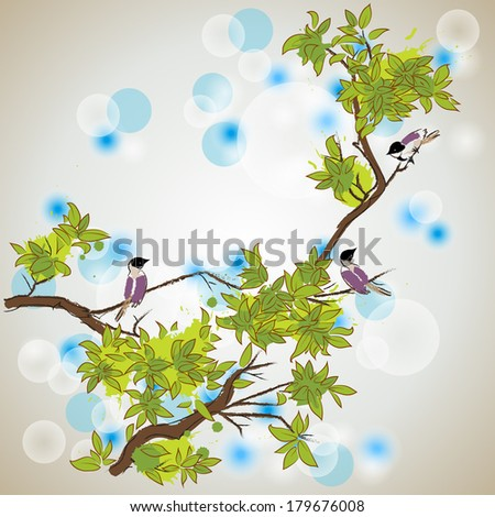 oriental style painting of birds resting on the branches of tree in spring - stock vector