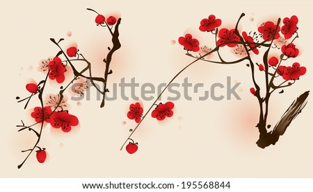 Oriental style painting, plum blossom flowers in two different compositions.