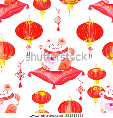 Oriental styled print with lanterns and lucky cats. Watercolor seamless vector.