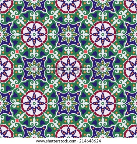 Oriental traditional floral ornament, seamless pattern, tile design, vector illustration - stock vector