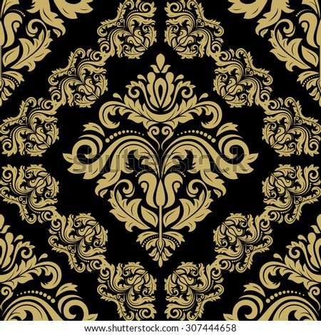 Oriental vector classic pattern. Seamless abstract black and gold background - stock vector