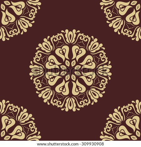 Oriental vector classic pattern. Seamless abstract brown and golden background