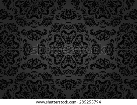 Oriental vector fine texture with damask, arabesque and floral black elements. Seamless abstract background - stock vector