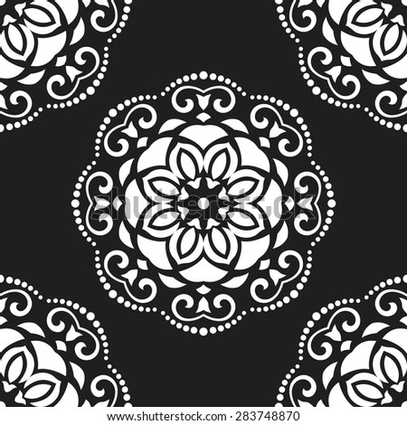 Oriental vector fine texture with damask, arabesque and floral elements. Seamless abstract background. Black and white colors