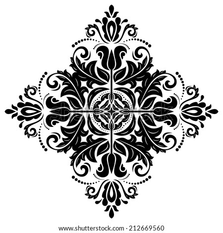 Oriental vector pattern with damask, arabesque and floral elements. Abstract background - stock vector
