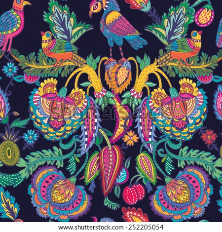 Oriental Vetor Floral pattern of flowers and birds in amazing colors.  Beautiful seamless pattern. Vector backdrop. Use for wallpaper,pattern fills, web page background. - stock vector
