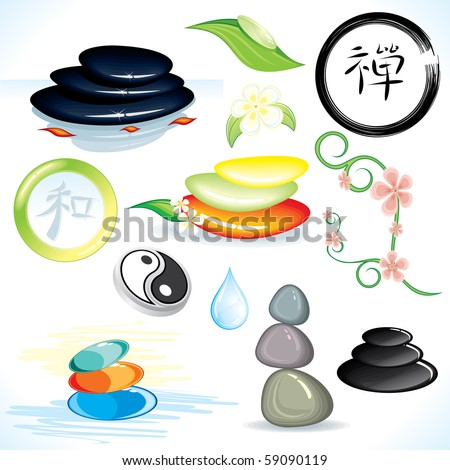 Oriental Zen theme collection, vector design elements, logos, emblems, icons