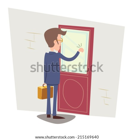 Oriented Happy Businessman with Briefcase Knocking at Customer Door on Stylish Background Retro Cartoon Vector Illustration - stock vector