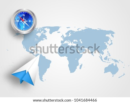 Origami airplane compass on world map stock vector 1041684466 origami airplane and compass on world map as background represents concept of travel transportation gumiabroncs Choice Image