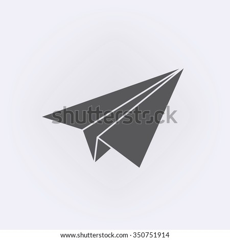 Origami airplane flying icon . Vector illustration