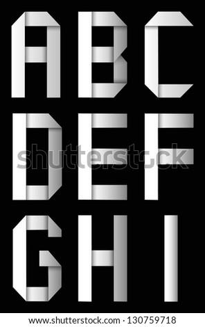 Origami alphabet paper letter A,B,C,D,F,G,H,I - stock vector
