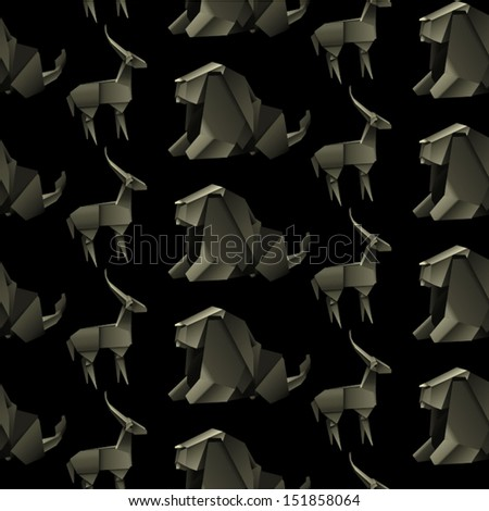 origami animal design. elephant and gazelle pattern seamless. vector illustration - stock vector