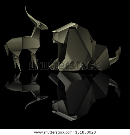 origami animal design. elephant and gazelle. vector illustration - stock vector