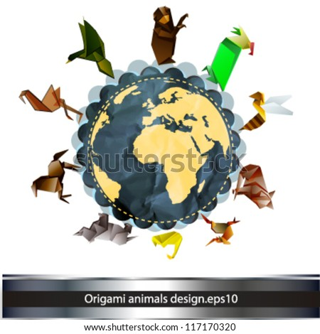 origami animals over the earth. vector design