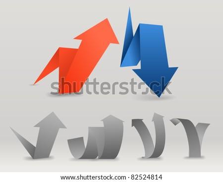 Origami arrows set - stock vector