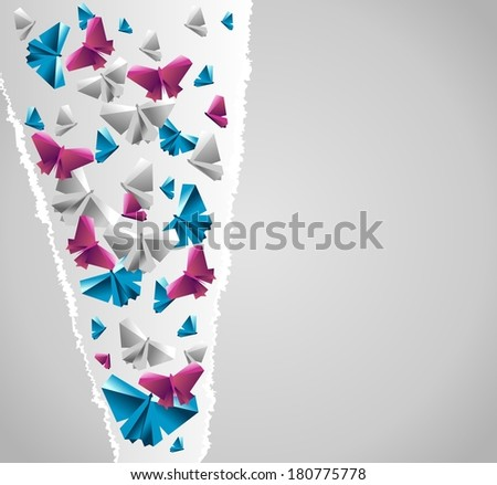 Origami  background. Paper is transformed to butterflies. - stock vector