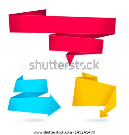 Origami banners. Set - stock vector