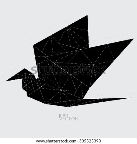 Origami Bird - stock vector