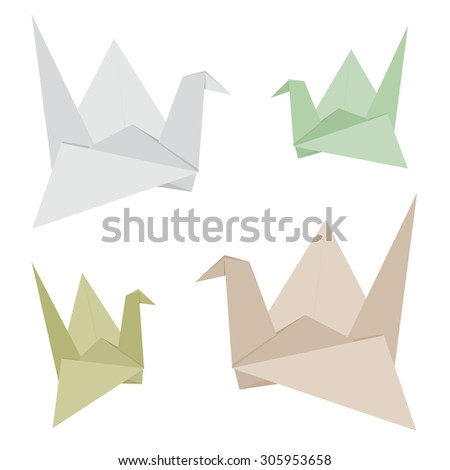 Origami Bird made from Recycle Paper Vector Design  - stock vector