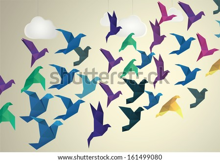 Origami Birds flying and fake clouds background - stock vector