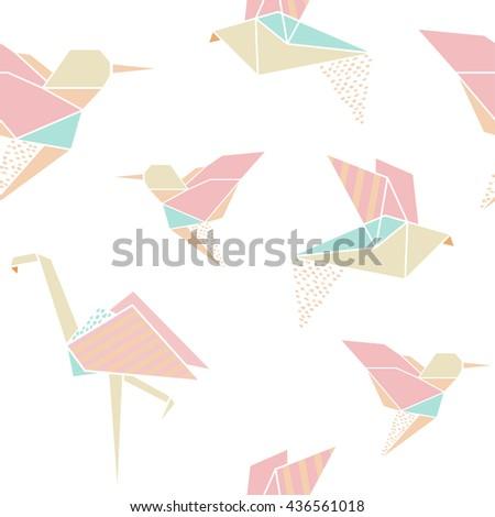 Origami Geometric Set Flamingo Hummingbird Fish Stock ... - photo#11