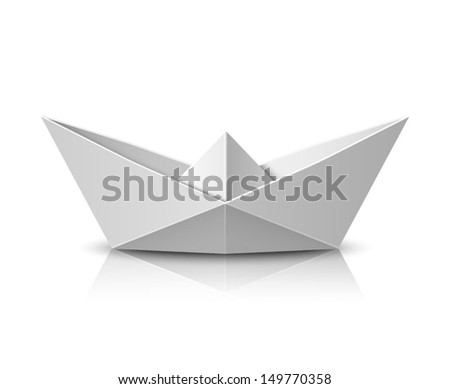Origami boat - stock vector