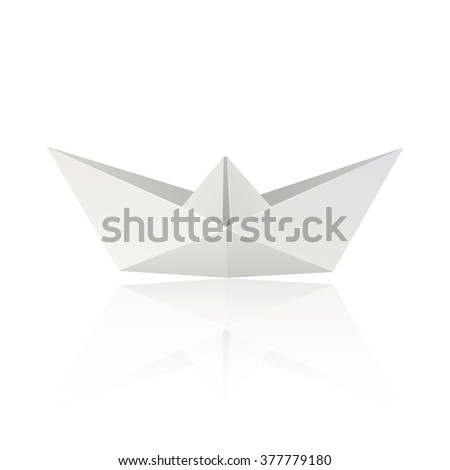 Origami Boat isolated on white