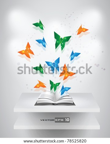 Origami Butterflies coming out of Book. EPS 10 Vector. - stock vector