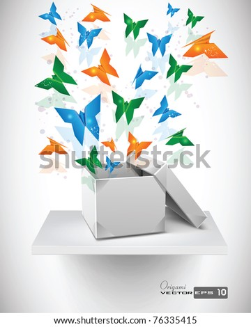 Origami Butterflies with Origami Box on Shelf. EPS 10 Vector Background. - stock vector