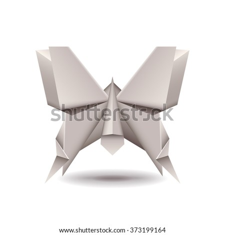 Origami butterfly isolated on white photo-realistic vector illustration - stock vector