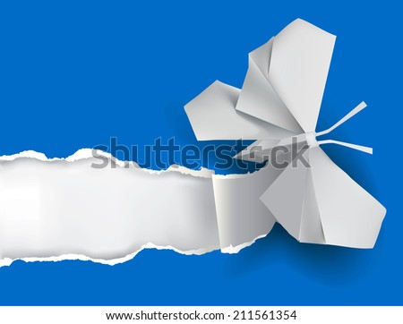 Origami butterfly ripping white paper. Vector illustration of Origami butterfly ripping blue paper with place for your image or text.Theme symbolizing revelation, uncovered.  - stock vector
