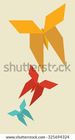 Origami butterfly vector - stock vector