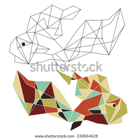Origami china fish doodle.Zentangle stylized Gold Fish. Hand Drawn patterned vector illustration isolated on white background.  Sea art collection. - stock vector