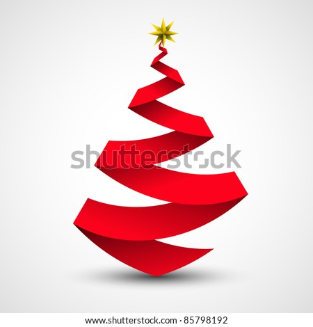 Origami Christmas tree made from paper | ribbon. Vector illustration.