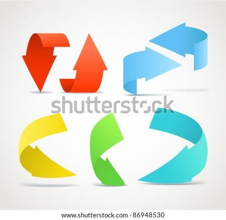 Origami color arrows stickers collection - stock vector