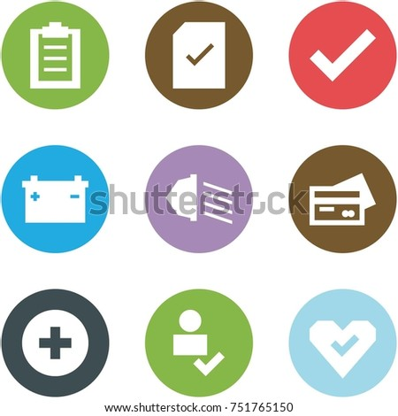 Origami corner style icon set - clipboard, check document, , car battery, low beam, credit card, add, user, heart