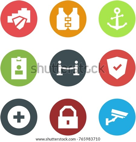 Origami corner style icon set - cloud safe, life vest, anchor, identity card, vip zone, shield, add, lock, surveillance