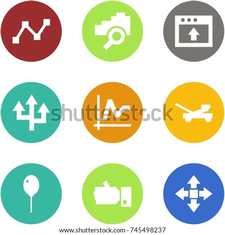 Origami corner style icon set - graph, cloud search, upload, router, jack, balloon, like, disassembly