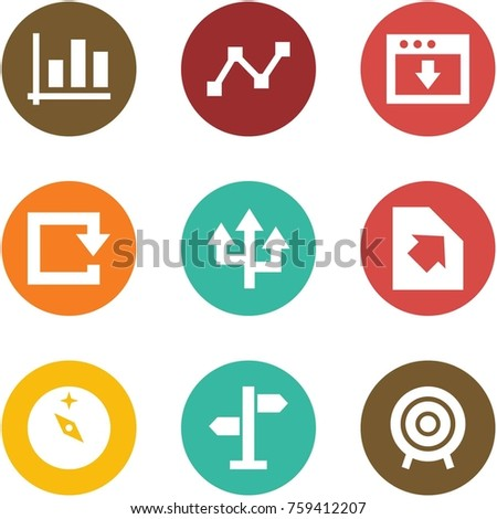 Origami corner style icon set - graph, download, reload, router, upload document, orienteering, street sign, target