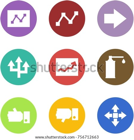 Origami corner style icon set - graph, , forward, router, , oil, like, dislike, disassembly