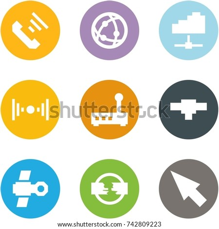 Origami corner style icon set - incoming call, network, cloud service, wireless, router, connection, satellite, disconnect, cursor