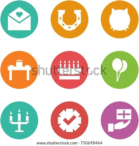 Origami corner style icon set - love letter, horseshoe, cat, dinner table, cake, balloons, chandelier, guarantee, gift