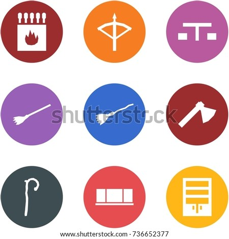 Origami corner style icon set - matches, crossbow, picnic, broom, axe, crook, blackboard, wardrobe