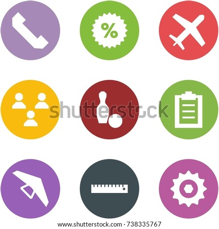 Origami corner style icon set - phone, percent, holiday, group, bowling, clipboard, deltaplane, ruler, chain gear