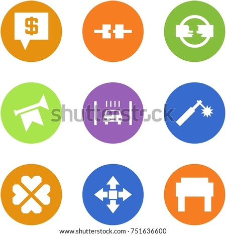 Origami corner style icon set - sms bank, connect, disconnect, horn, drying box, welding, hearts, disassembly, russian hat