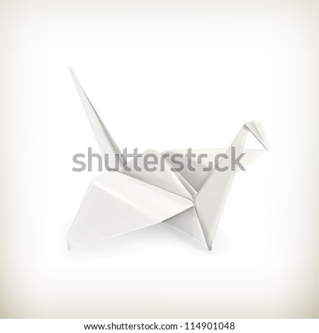 Origami crane, vector - stock vector