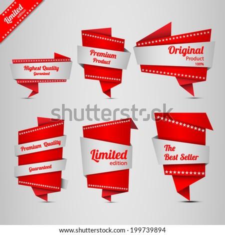 Origami design label set - stock vector