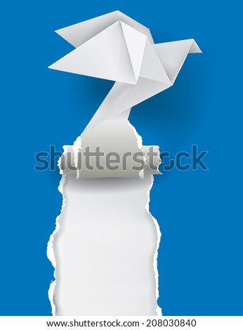 Origami Dove ripping blue paper. Vector illustration of Origami Dove tearing blue paper with place for your image or text  Theme symbolizing revelation, uncovered, power.  - stock vector